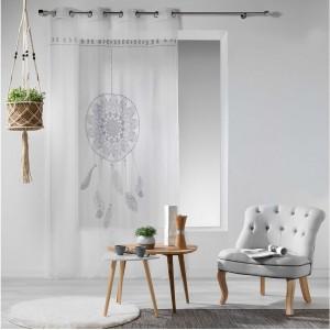 Bílá záclona s šedým lapačem snů REVELINE