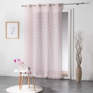 Dlouhé záclony růžové barvy do ložnice SOLEDAD