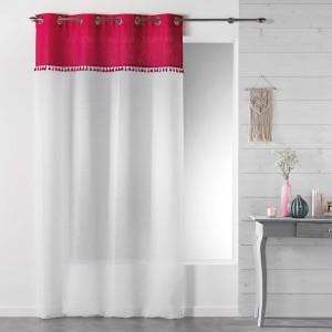 Moderní záclony bílé s růžovým vrchem a střapečky  SONEVA