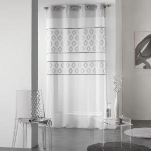 Elegantní záclony bílé s šedým vzorem TEORO
