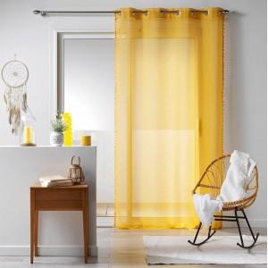 Žlutá záclona s ozdobným okrajem BOHO CHIC