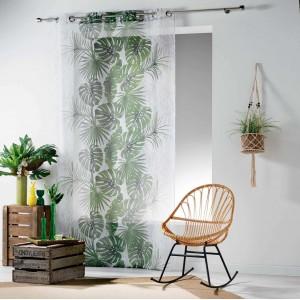 Moderní záclona s potiskem listů BLOGGIO
