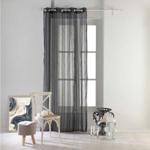 Pruhované záclony tmavě šedé barvy NUAGE