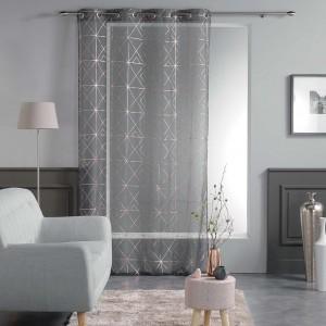 Luxusní tmavě šedé vzorované záclony QUADRIS