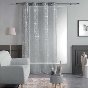 Světle šedé záclony s moderním vzorem QUADRIS