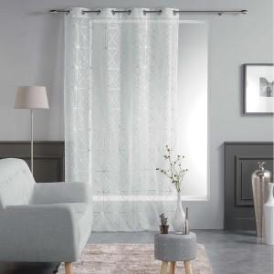 Vzorované bílé záclony moderní QUADRIS