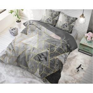 Moderní šedé povlečení na postel s trojúhelníkovým vzorem TRIANGLE