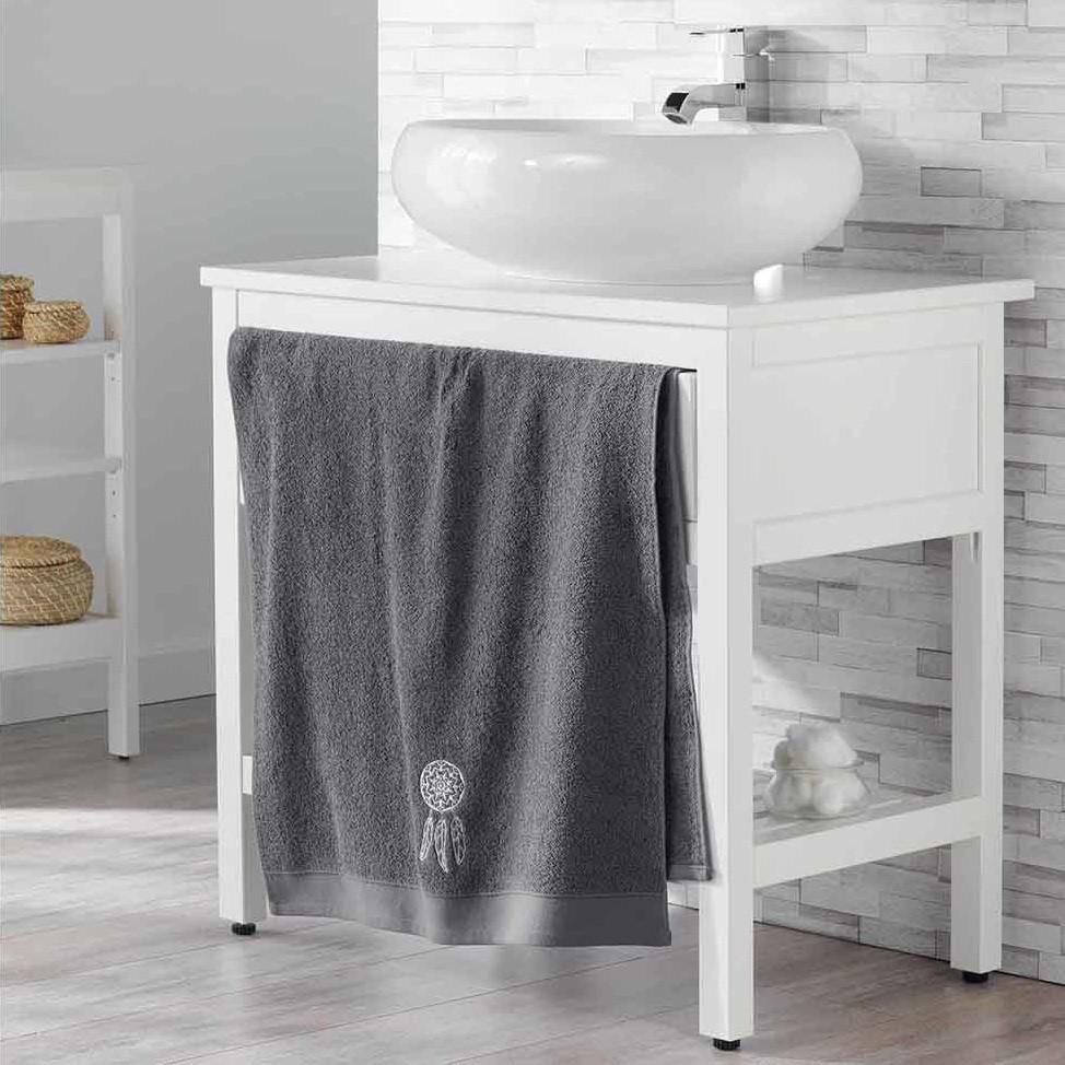 Trendový bavlněný ručník šedý s lapačem snů 70 x 130 cm