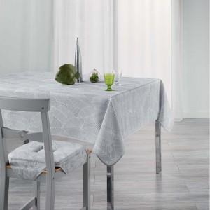 Šedý ubrus do kuchyně s jemným potiskem listů GATSBY