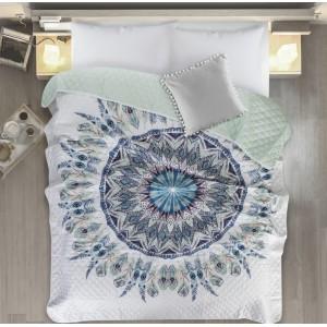Přehoz s motivem mandaly v bílo mentolové barvě