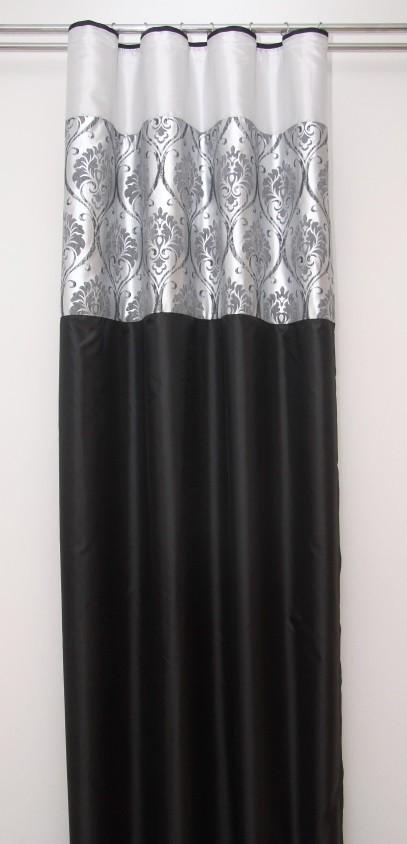 Černo stříbrný závěs se vzorem