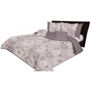 Přehoz na postel v hnědé barvě s kruhovými vzory