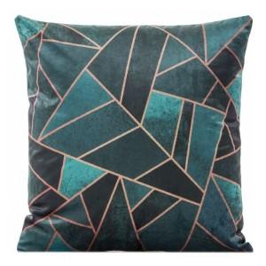 Tmavě zelené dekorační povlaky na polštáře se zlatým vzorem