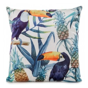 Povlak na polštář 45x45 s motivem papoušků a rostlin