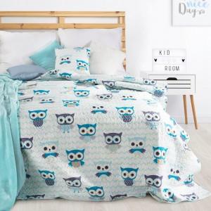 Oboustranný přehoz na dětskou postel s motivem sovy