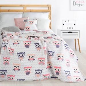 Růžovo bílý oboustranný přehoz na dětskou postel