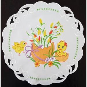Dekorační ubrus na Velikonoce s motivem kuřátka
