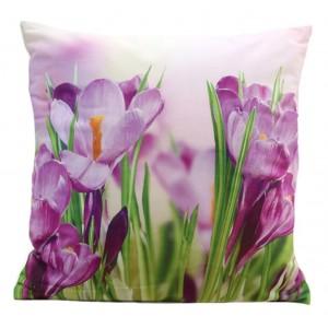 Povlak na polštář s motivem fialových květů