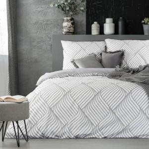 Vzorované ložní prádlo v bílo šedé barevné kombinaci