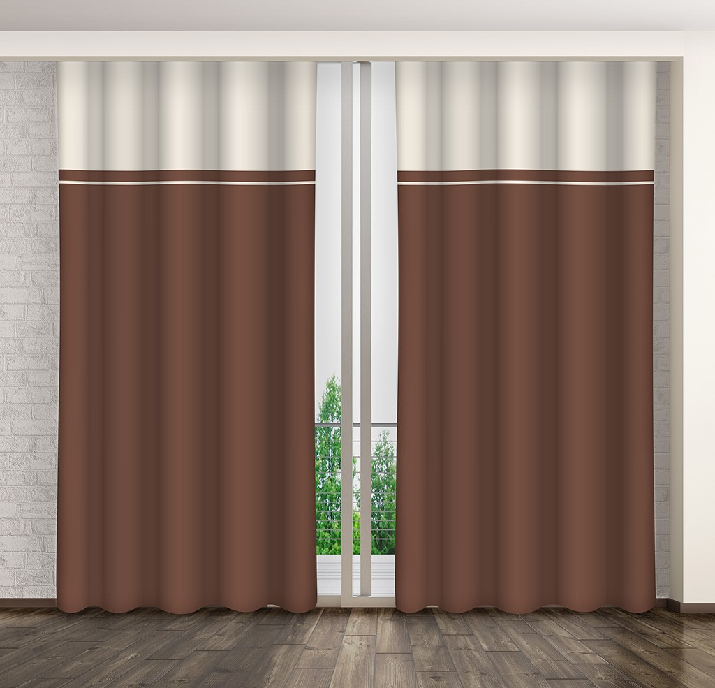 Moderní okenní závěsy v odstínech hnědé barvy