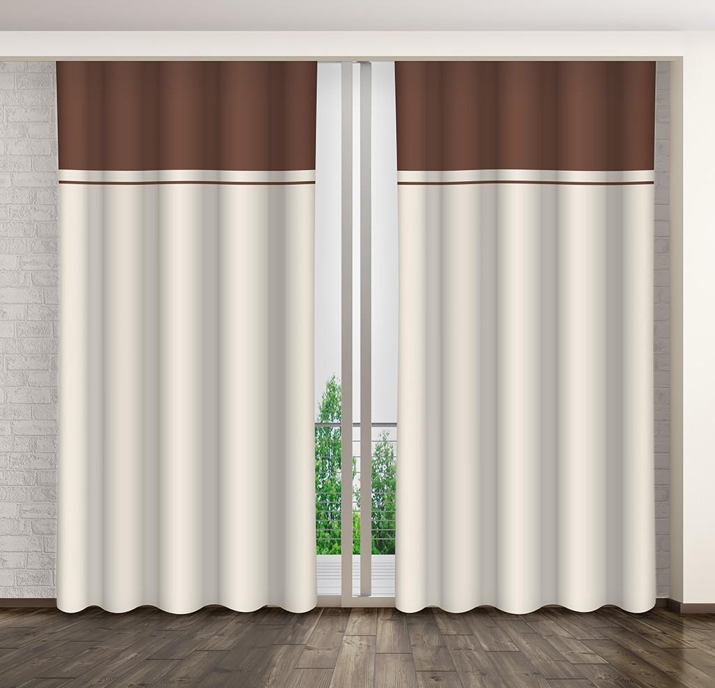 Dekorační závěsy do ložnice v béžovo hnědé barvě