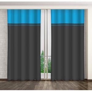 Modře šedé hotové dekorační závěsy do ložnice