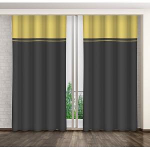 Luxusní dekorační závěsy v žluto šedé barevné kombinaci