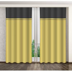 Dekorační závěs na okno hořčicově žluté barvy