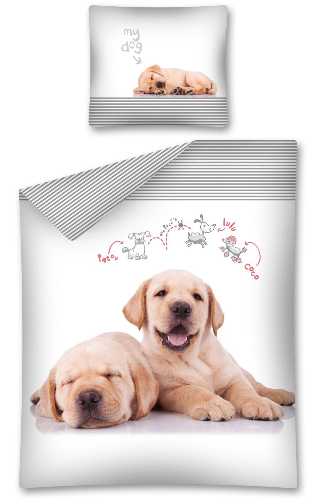 Dětské bavlněné ložní povlečení s motivem psa