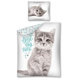 Dětské povlečení s motivem kočičky v bílé barvě
