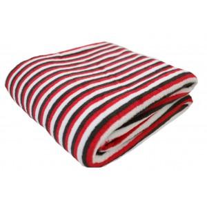 Lehká letní deka s páskovým vzorem červeno černé barvy