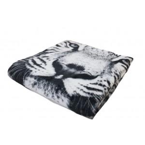 Černo bílá jemná deka s motivem tygra