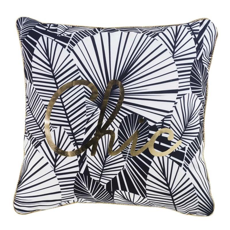 Dekorační polštář na sedačku v černo bílé barvě