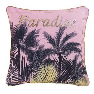 Dekorační polštář s exotickým motivem růžové barvy