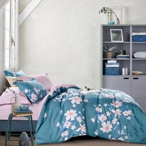 Modré bavlněné ložní povlečení s motivem květin