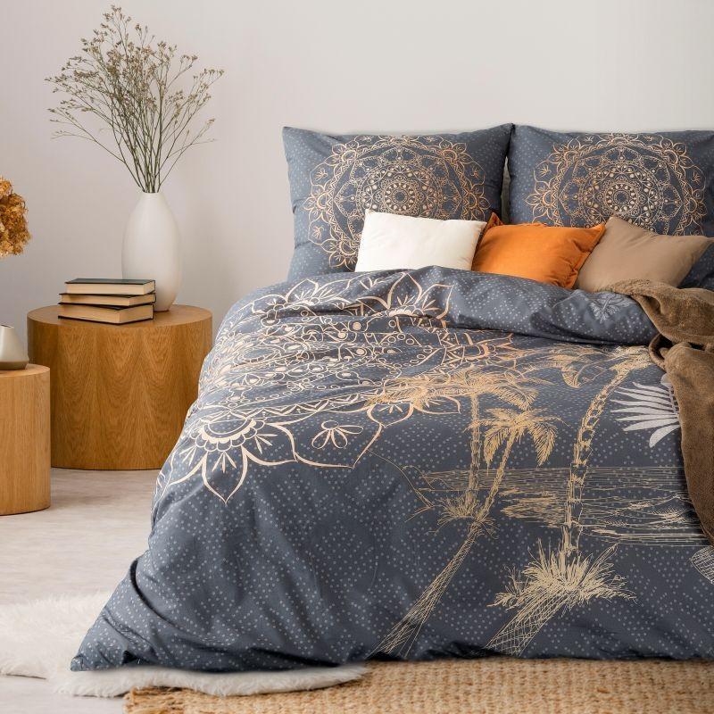 Luxusní vzorované ložní prádlo z bavlny šedé barvy