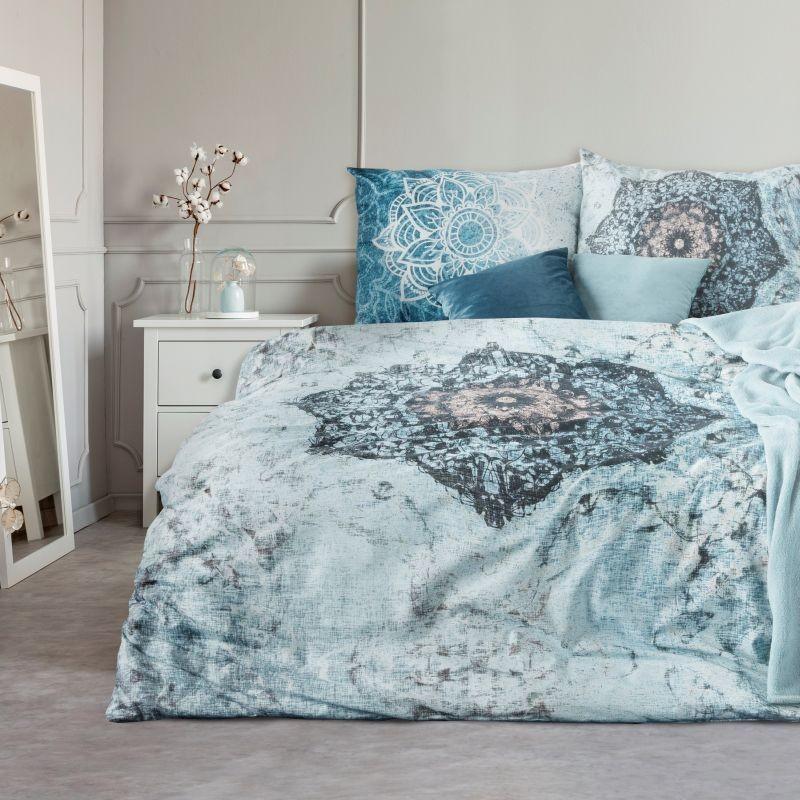 Bavlněné ložní povlečení s abstraktním motivem modré barvy
