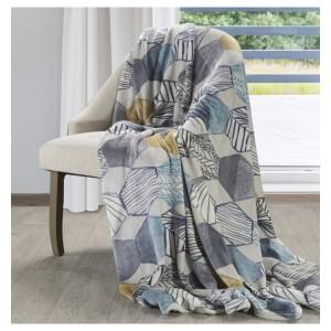 Luxusní deka v bílé barvě s motivem geometrických tvarů