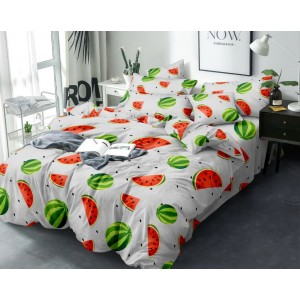 Šedé ložní prádlo z mikrovlákna s motivem melounu