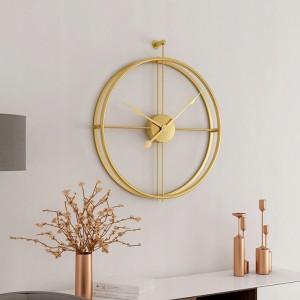 3D kovové hodiny se zlatým leskem
