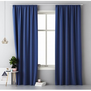 Tmavě modrý hotový závěs 140 x 250 cm