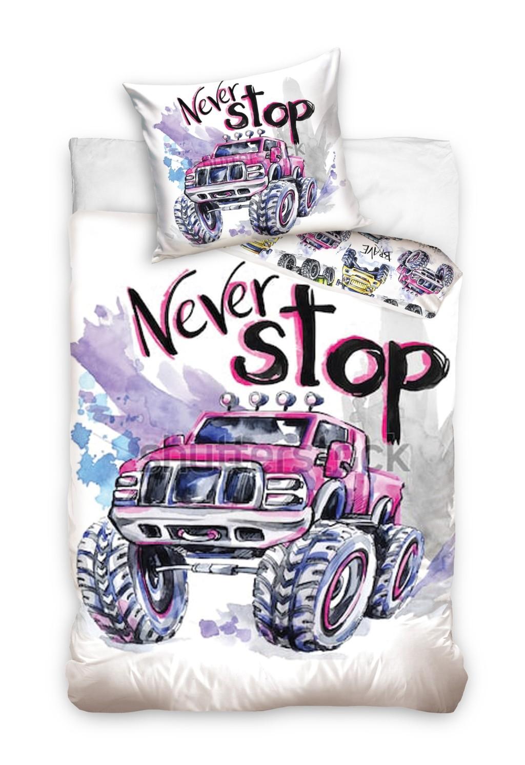 Dětské povlečení s nápisem Never Stop