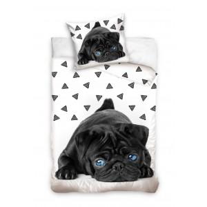 Povlečení na postel s pejskem s modrýma očima