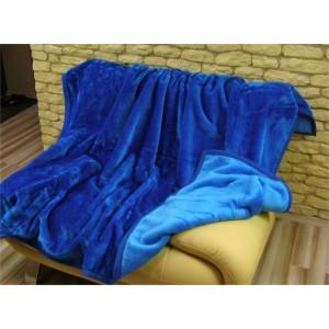 Hrubá teplá deka modré barvy