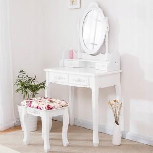 Kvalitní toaletní stolek s otáčecím zrcadlem a židličkou