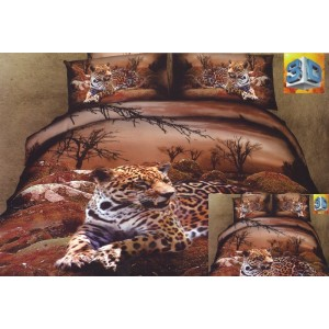 Povlečení hnědé barvy s odpočívající leopardem