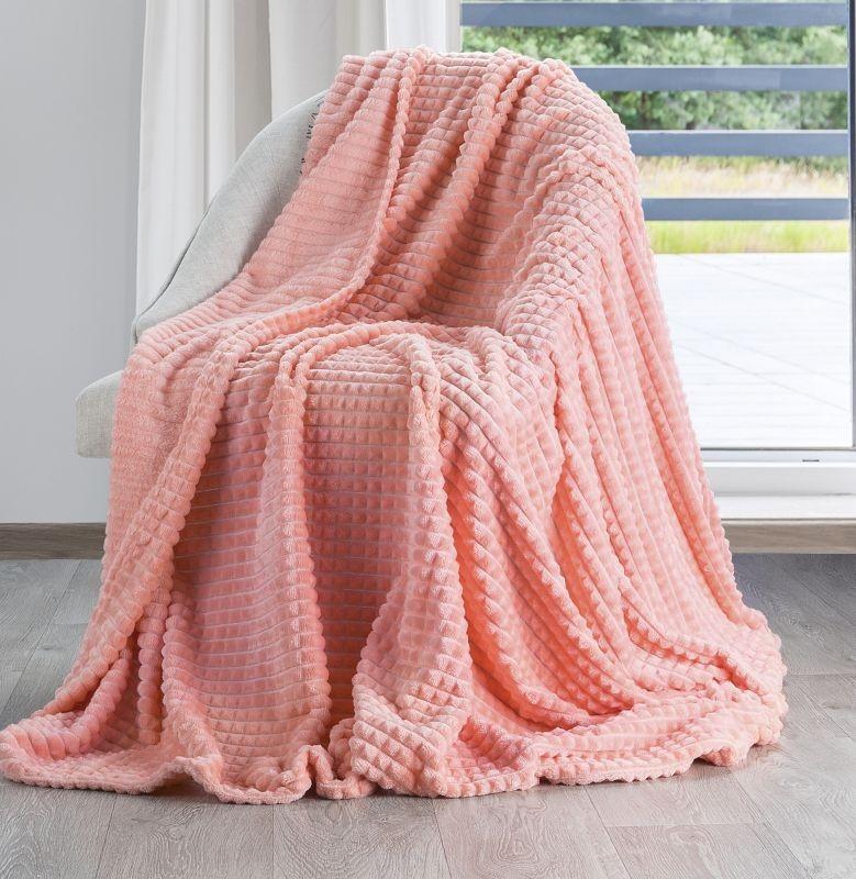 Stylová teplá deka korálově růžové barvy