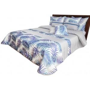 Stylový přehoz na postel bílo modrý s motivem barevných listů