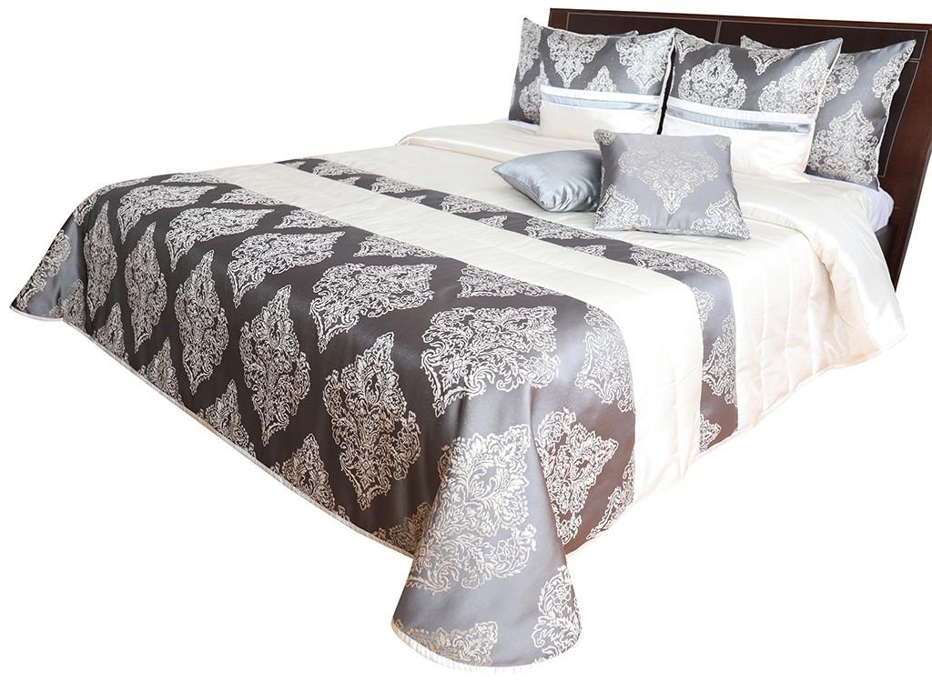 Krásný přehoz na postel šedě zlatý s propracovaným vzorem