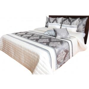Luxusní přehoz na postel barokního designu v zlato šedé barvě